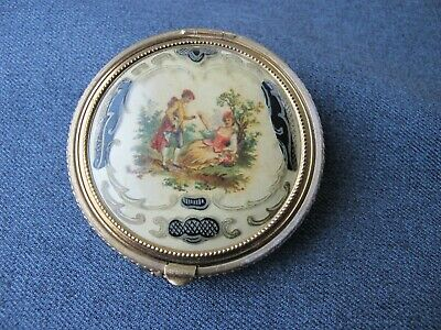 Vintage Rex golden metal mesh courting couple cover celluloid top compact w puff