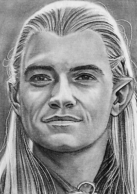 ORIGINAL ACEO sketch card LORD OF THE RINGS Orlando Bloom LEGOLAS ELF
