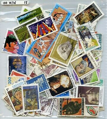France, Large Art 100 W/W Stamps  Good Value All Different Off Paper Help Msf15