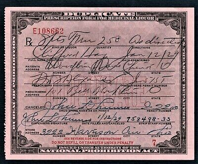 Prohibition Prescription Medicinal Liquor Old Doctor Pharmacy Bar Hay Ohio 1929