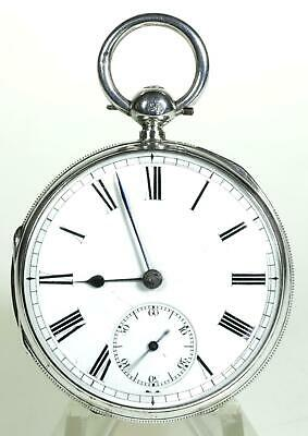 Solid sterling silver English fusee lever pocket watch 1878 cleaned & working