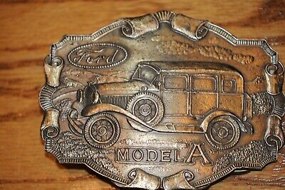 Vintage brass Belt Buckle, Made in Chicago, Ford Model A, by Lewis Buckles, USA.