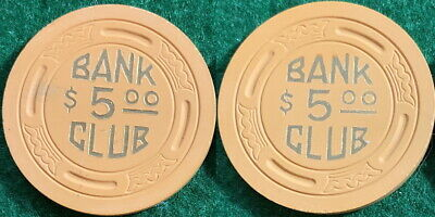 BANK CLUB Searchlight Nevada Casino Chip $5 Great Condition RARE Old Collectible
