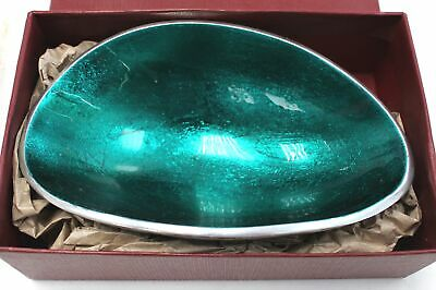 ROBERTS & DORE Green & Silver Metal Nut/Olive/Nibbles OVAL DISH/BOWL - N09