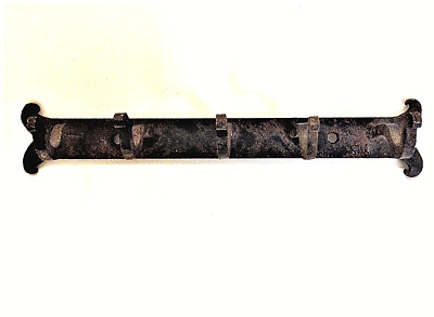 Antique Cast Iron Coat Hook Rack Bar with 5 Hooks Primitive Rustic Western