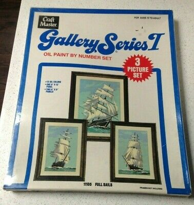 1975 Craft Master Gallery Series 1 Paint by Number Set #11105 Full Sails ships