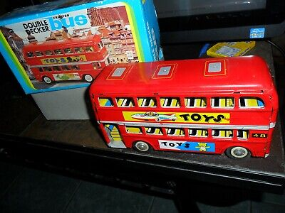 """1960s TIN-LITHO FRICTION TOY DOUBLE DECKER LONDONIEN BUS LONDON 8"""" LONG IN  BOX"""