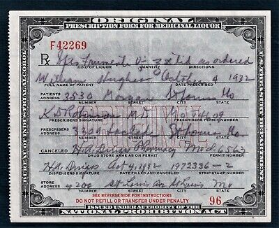 Prohibition Prescription Whiskey Old Doctor Pharmacy Saint Louis MO Bar Hughes