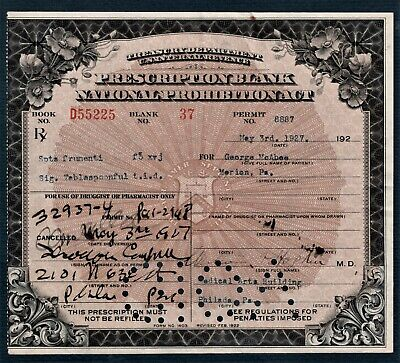 Prohibition Prescription Antique 1927 McAbee Doctor Pharmacy Bar Philadelphia PA