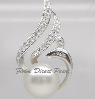 """925 STERLING SILVER 18"""" Genuine Phoenix White Pearl Pendant Necklace Freshwater"""