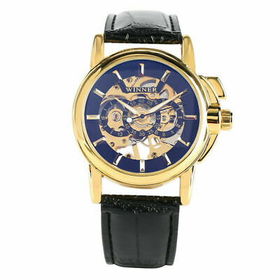 Mechanical Watch Automatic Wrist Watch Leather Strap Stainless Steel Case