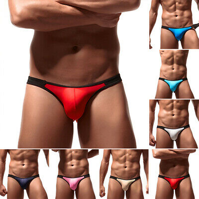Sexy Ultra-thin Ice Silk Men's Bulge Pouch Underwear Low-rise Soft Briefs Bikini