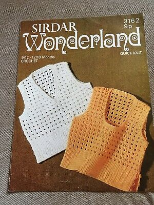 Vintage Crochet Pattern, 1970s, Slipovers for 9-18 months, Quick Knit Yarn