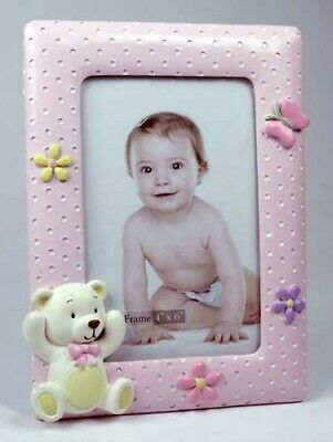 Baby Girl Teddy Bear Picture Photo Frame KEEPSAKE Christening Birth Gift