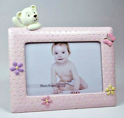 Pink Baby Girl Teddy Bear Picture Photo Frame KEEPSAKE Christening Birth Gift