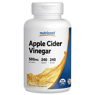 Nutricost Apple Cider Vinegar Capsules 500mg 240 Complex Supplements Gluten Free
