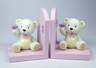 Baby Girl Teddy Bear Bookends KEEPSAKE Christening Birth Gift