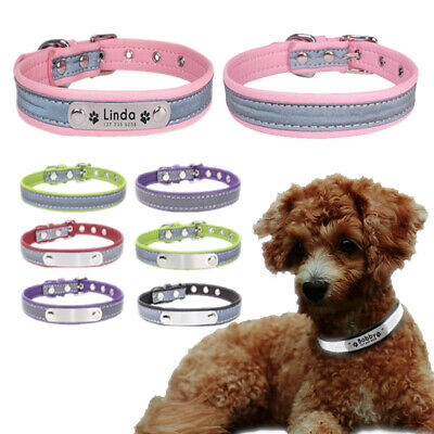Personalized Reflective Leather Dog Collar Engraved Puppy Cat Pet Collars ID Tag
