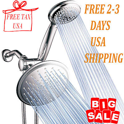 3-way 8-Setting Rainfall Shower Head And Handheld Shower Combo.Use Luxury 7-inch