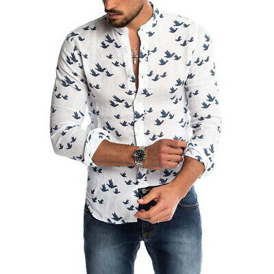Homme Vacances Manches Longues Coton Lin Shirts Casual Plage Hawaïenne Chemise