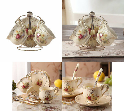 ufengke 4 Piece Creative European Luxury Tea Set, Ivory Porcelain Ceramic Coffee