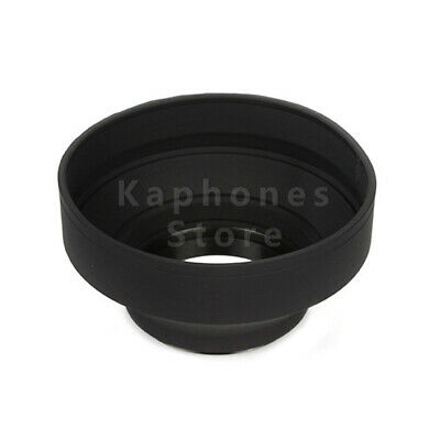 82mm 3-Stage Collapsible 3in1 Rubber Lens Hood Fr Canon Nikon Pentax DSLR Camera