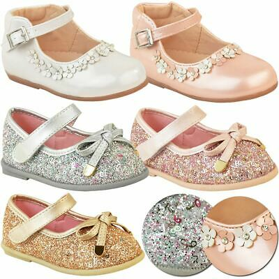 Girls Childrens Flat Shoes Toddler Baby Pumps Sparkly Party Wedding Bridesmaid