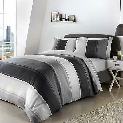 Betley Grey and White Striped Duvet Covers By Fusion