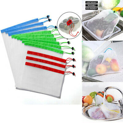 15 Pcs Reusable Produce Bags Black Rope Mesh Vegetable Fruit Toys Storage Pouch