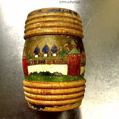 Early 20th Century Hand Decorated Russian Wooden Barrel Money Box