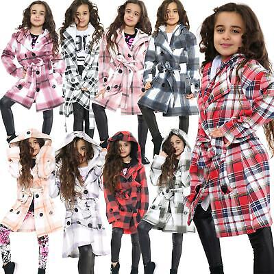 Kids Girls Overcoat Hooded Trench Coat Padded Oversized Lapels Long Parka Jacket
