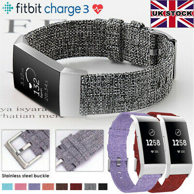 Canvas Nylon Woven Fabric Replacement Watch Strap Wrist Band For Fitbit Charge 3