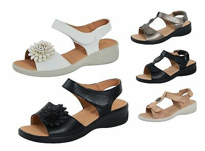 Womens Wide Fitting Comfort Sandals Ladies Cushioned Adjustable Summer Shoes
