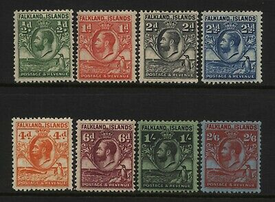 Falkland Islands Collection 8 KGV Whale / Penguin Values Mounted Mint