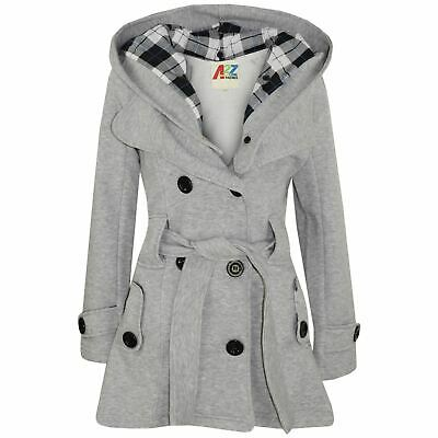 Kids Girls Overcoats Hooded Trench Coats Lapels Grey Padded Long Parka Jackets