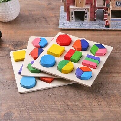Kids Baby Educational Wooden Toy Geometry Puzzle Sets Early Learning Toys Gift