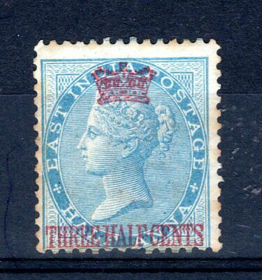 1867 STRAITS SETTLEMENTS 11/2c on India1/2a blue SG1 mounted mint spacefiller