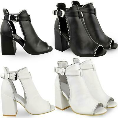Womens Ladies Block High Heel Ankle Boots Beaded Peep Toe Cut Out Sides Shoes