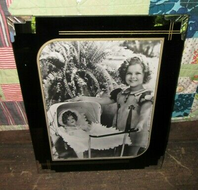 Beautiful Vintage Art Deco Reverse Painted Glass 8 x 10 Frame & Shirley Temple
