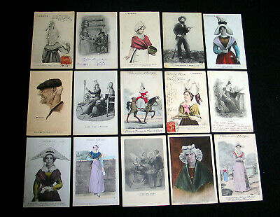 Lot A46 : 15 Cpa Illustration Mode Costume Folklore Tradition Region France...