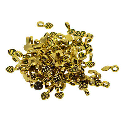 100 Pcs Golden Glue on Heart Bails Pendants For DIY Necklaces Dangler Loop