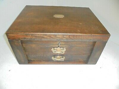 Quality Oak Desktop Collectors Chest , Coins , Medals , Stationery