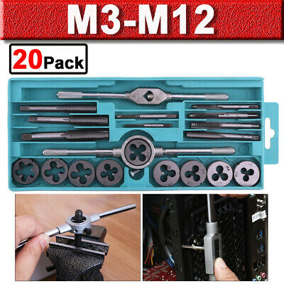 20pc Metric Wrench Tap And Die Set Cuts M3-M12 Bolts Engineers Kit With Hard Box