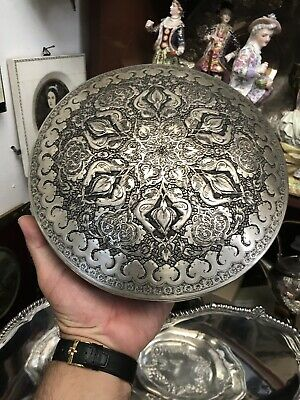 Antique Islamic Middle East Indian Solid Silver Very Large Box Carved Flowers