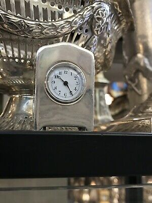 Antique 19th C French Solid Silver Very Rare Minture Carriage Clock On Four Feet