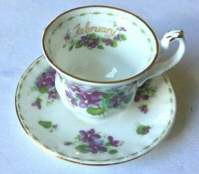 1970 Royal Albert Bone China Flower Of The Month Violets Mini Cup & Saucer