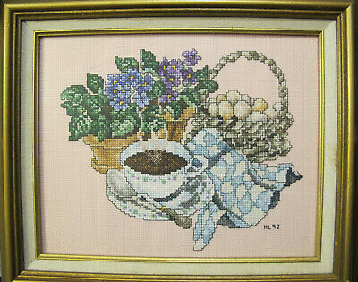 Finished Cross Stitch Steaming Coffee Cup w African Violet Framed 10.5 x 12.5""