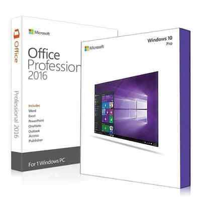 BUNDLE 1PC Microsoft Windows 10 Prof + Office 2016 Professional Plus 32/64-Bit