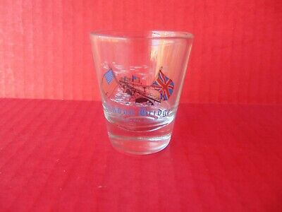 "SHOT GLASS London Bridge Lake Havasu City AZ American British Flag 2.25"" Jigger"