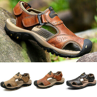 Men's Summer Sandals Sports Beach Leather Casual Walking Hiking Closed Toe Shoes